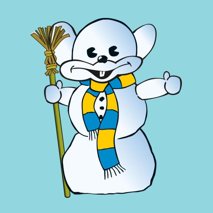 Musen Kulius som snögubbe med gul och blå halsduk och en kvast i handen